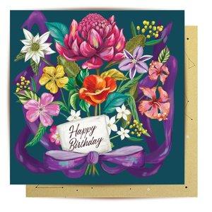 Mini Card Happy Birthday Bouqet 8x8cm