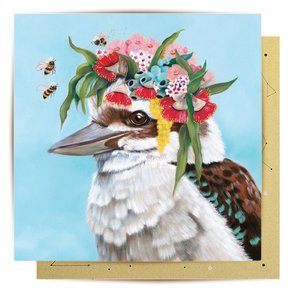 Mini Card Kookaburra Bees 8X8cm