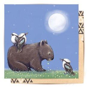 Mini Card Nightime Wombat 8X8cm