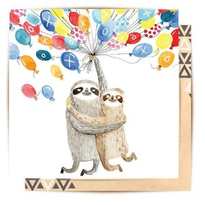 Mini Card Sloth Balloons 8X8cm