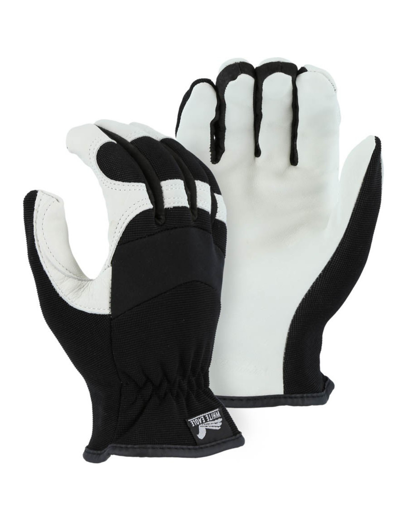 Majestic Glove White Eagle Mechanics Glove With Grain Goatskin Palm And Knit Back