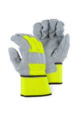 Majestic Glove Split Cowhide Leather Palm Glove With Double Palm And High Vis Canvas Back