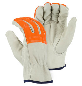 Majestic Glove Cowhide Drivers Glove With High Visibility Orange Cloth Fingers