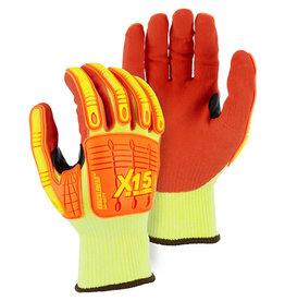 Majestic Glove X-15® Cut & Impact Resistant Glove With Double Sandy Nitrile Coating