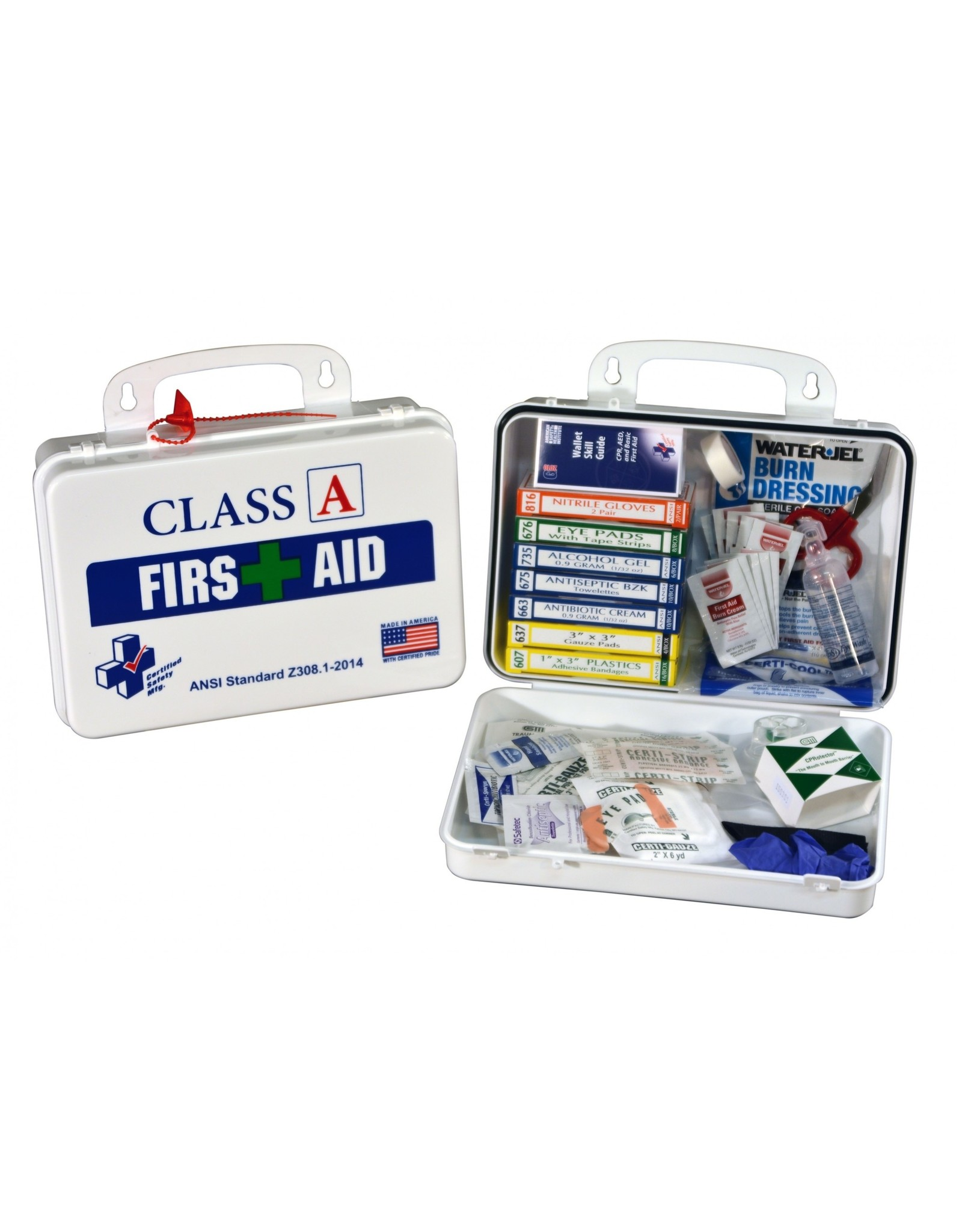 Certified Safety Mfg Class A 16-18 First Aid/Burn Kit - Plastic Case