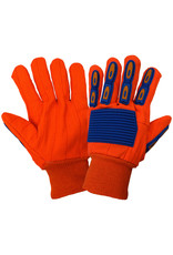 Corded Orange Cotton Gloves with TPU Impact Protection