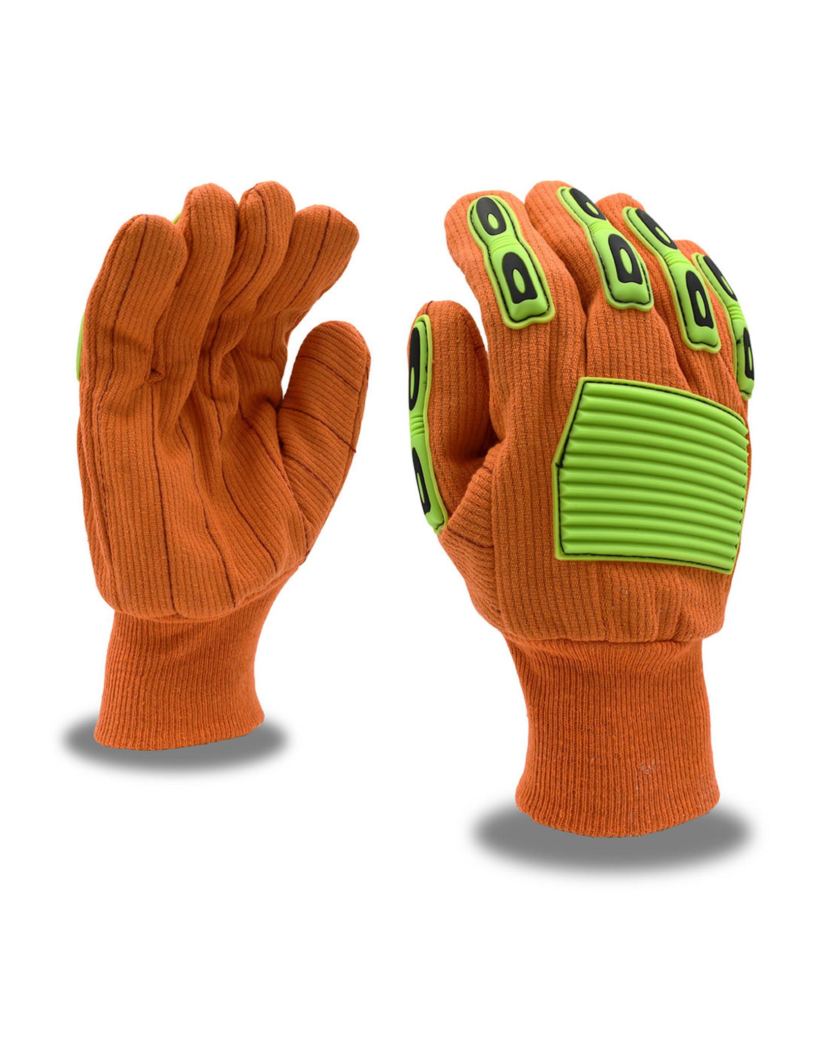 Cordova Impact Protection Canvas, TPR, Knit Wrist, Corded, Double Palm, Cotton Glove