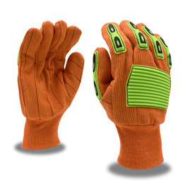 Cordova Impact Protection Canvas, TPR, Knit Wrist, Corded, Double Palm, Cotton Glove