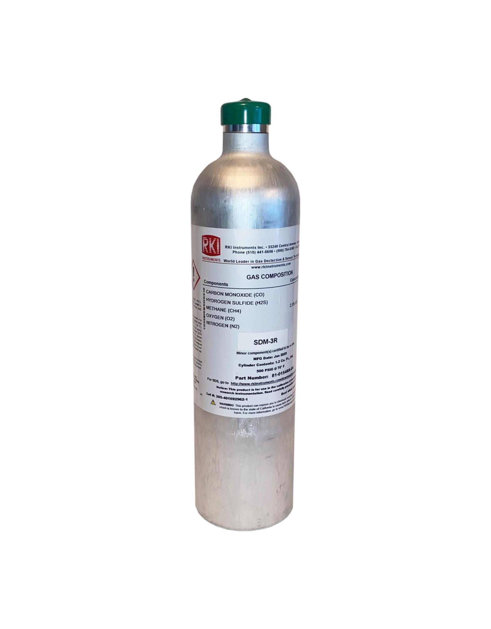 RKI Instruments RKI Calibration Gas Cylinder, H2S 25 ppm / CO 50 ppm / CH4 50% LEL / O2 12% N2 34L