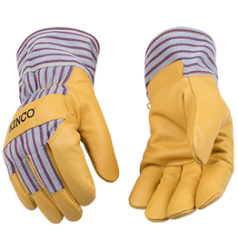 Kinco Kinco Golden Premium Grain Pigskin Palm, Trademarked Otto™ Striped Cotton-Blend Canvas Fabric Back & Safety Cuff with Shirred Elastic Wrist, Wing Thumb Design, Heatkeep® Thermal Insulation Glove