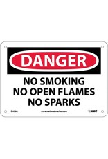 National Marker Company DANGER, NO SMOKING NO OPEN FLAMES NO SPARKS Aluminum Sign