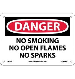 National Marker Company DANGER, NO SMOKING NO OPEN FLAMES NO SPARKS Aluminum Sign
