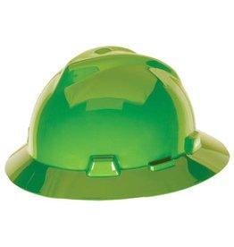 MSA MSA V-GARD Non-Slotted Lime Green Full Brim Hard Hat with Fas-Trac III Suspension