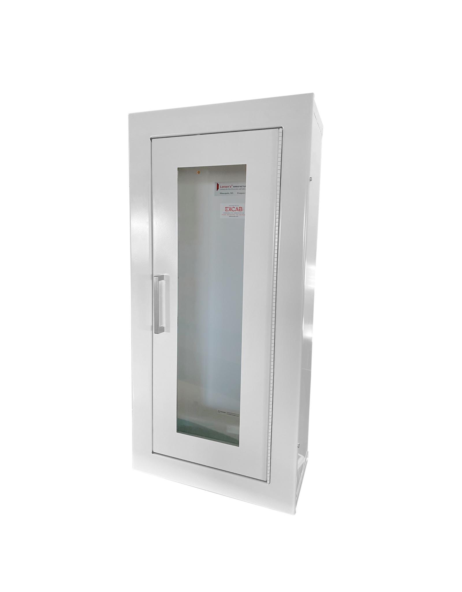 Larsen's Mfg 24 x 9.5 Inch Cabinet 10 Lbs ABC Fire Extinguisher - Steel Door and Frame, Surface Mount