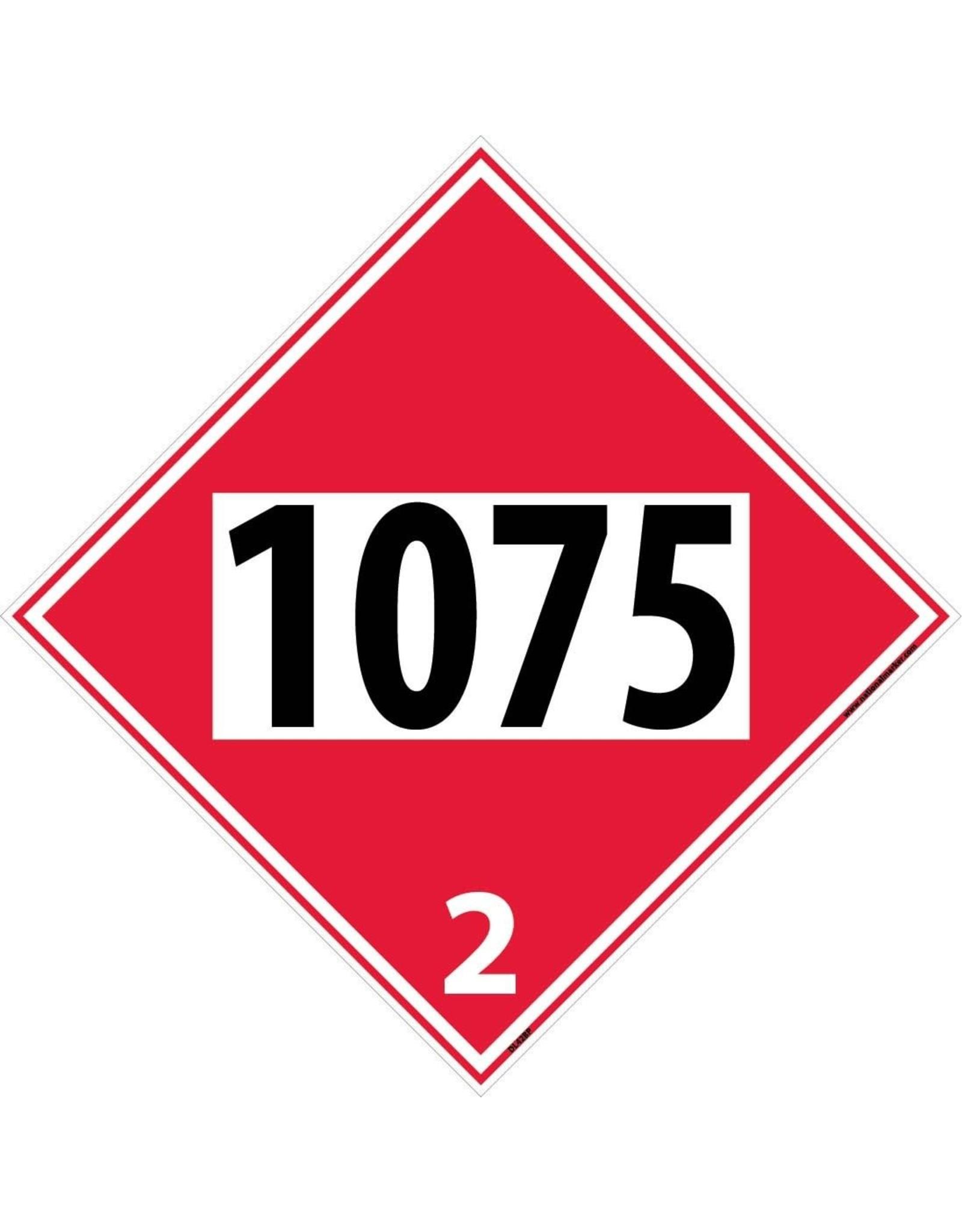 National Marker Company Propane Diamond Hazmat Placard 1075-2