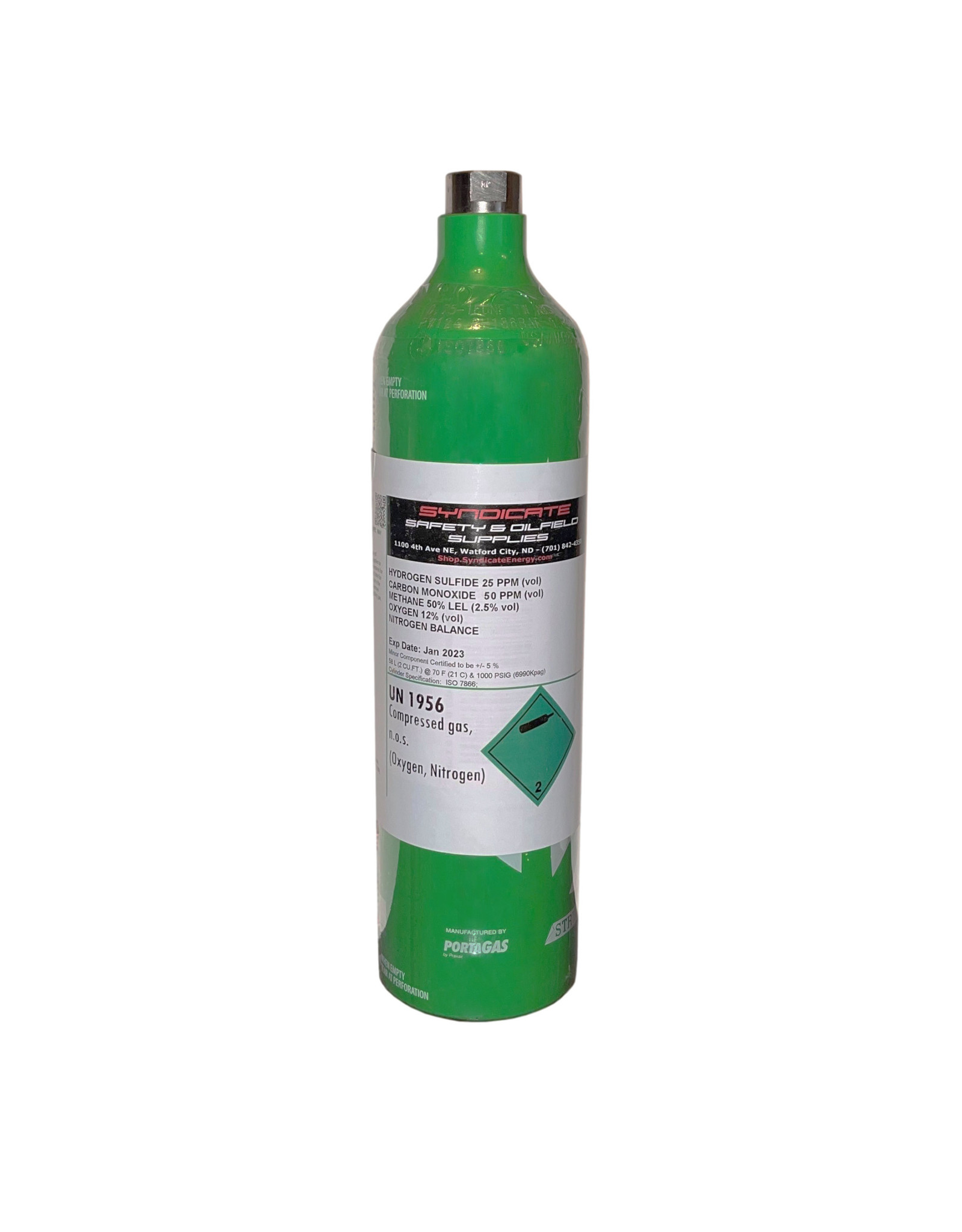 Syndicate Calibration Gas H2S 25 ppm, CO 50 ppm, CH4 2.5% (50% LEL), O2 12%, N2 Balance 58L Aluminum Bottle