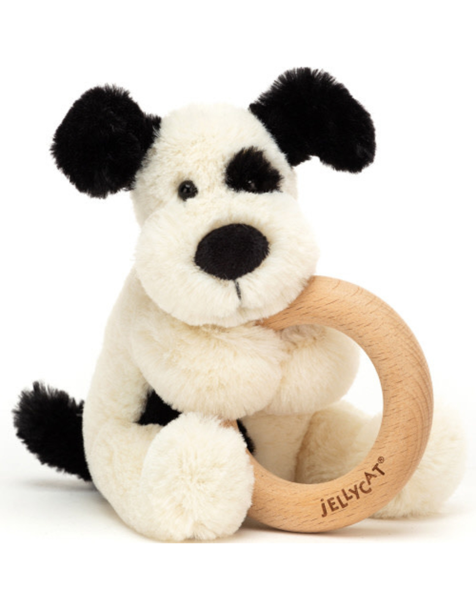 JELLYCAT BASHFULL CREAM AND BLACK PUPPY WOODEN RING