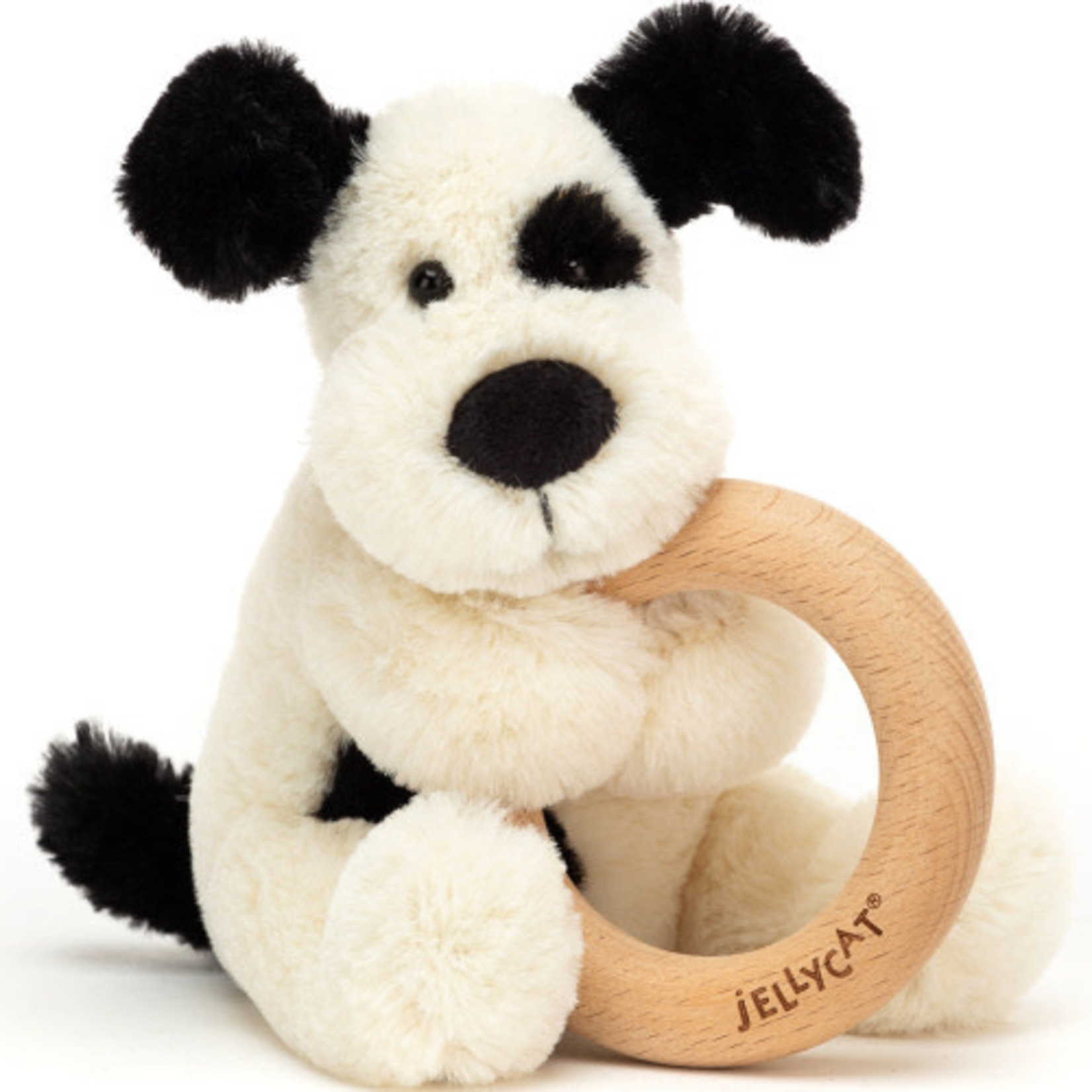 JELLYCAT BASHFUL CREAM AND BLACK PUPPY WOODEN RING