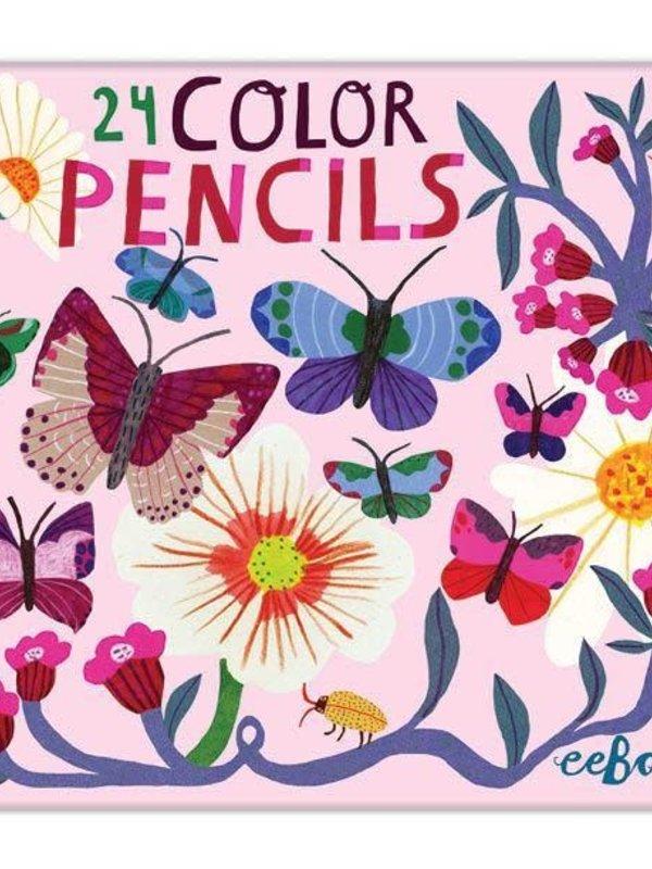 EEBOO BUTTERFLIES & FLOWERS 24 COLOR PENCILS