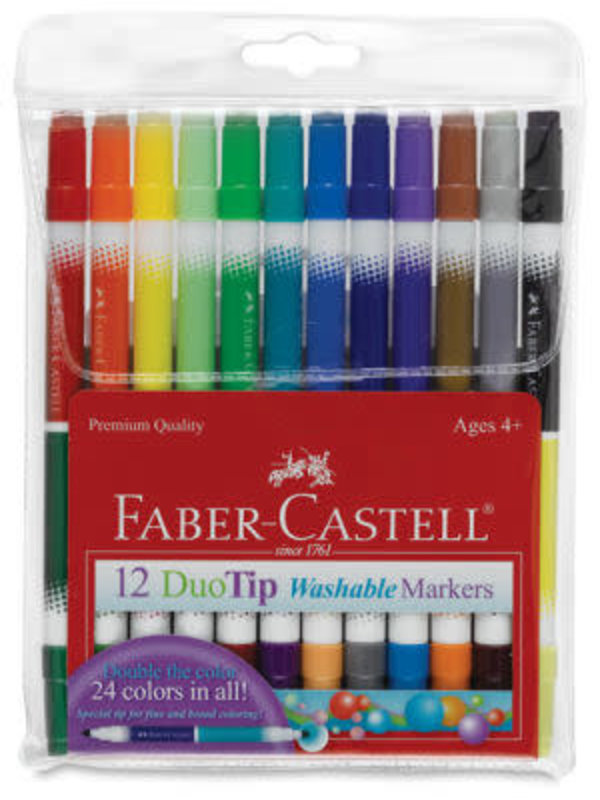 FABER-CASTELL 12CT DUOTIP WASHABLE MARKERS