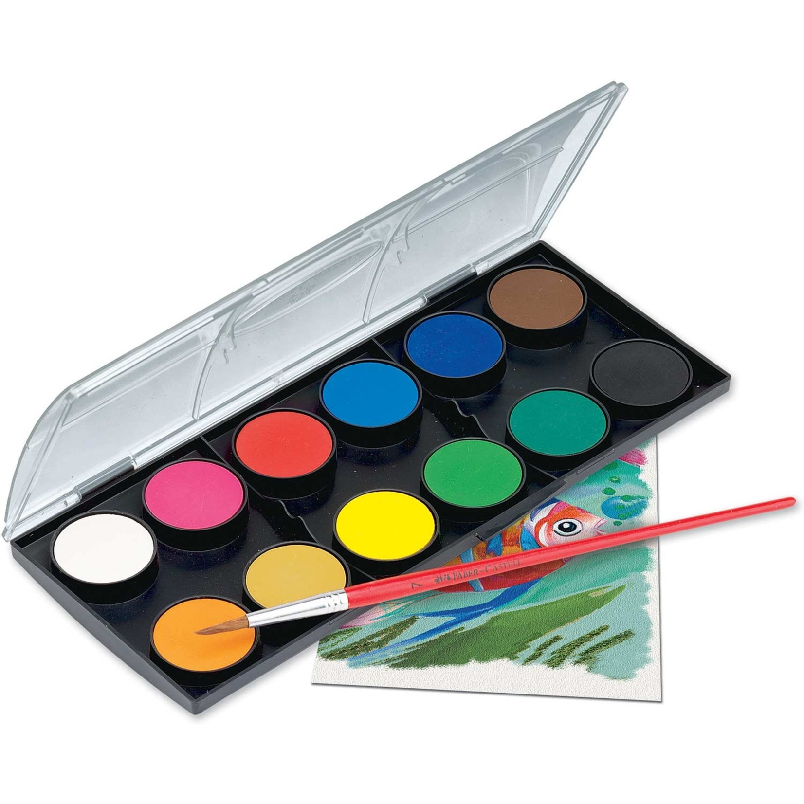 FABER-CASTELL WATERCOLOR PAINT SET CAKES WITH BRUSH