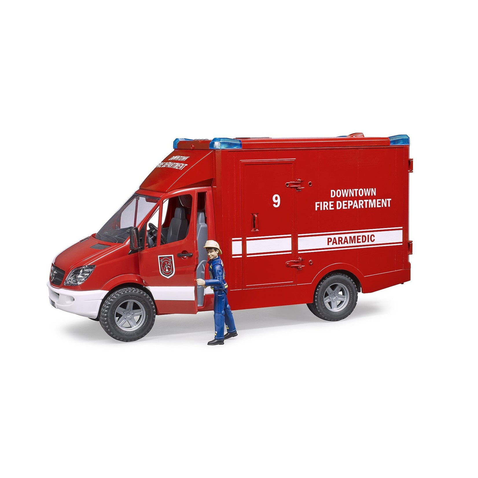 BRUDER MB SPRINTER FIRE DEPARTMENT 02539 (WITH LIGHT & SOUND MODULE AND FIREMAN)
