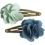 MAILEG HAIR CLIPS FLUFFY FLOWER AQUA
