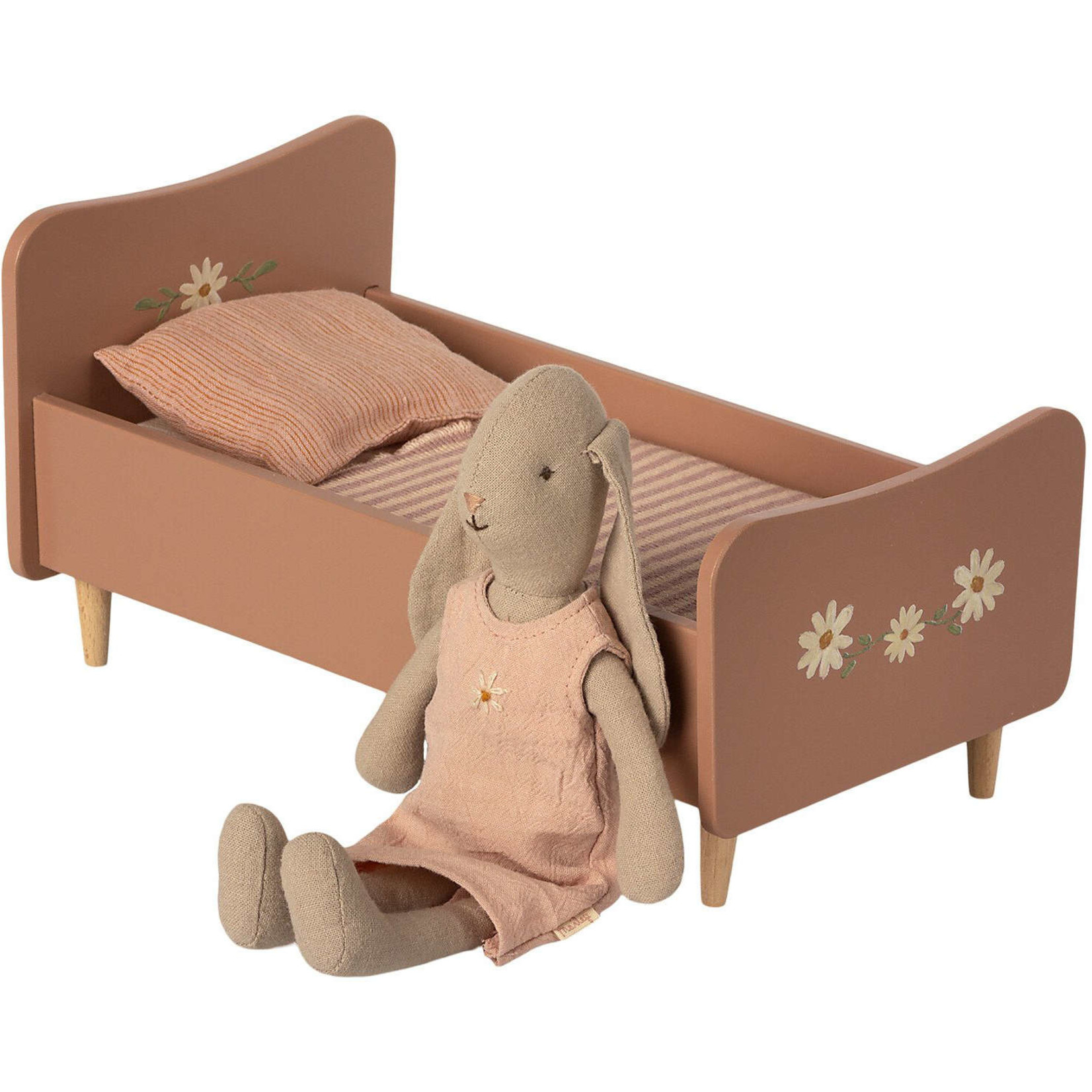 MAILEG WOODEN BED ROSE