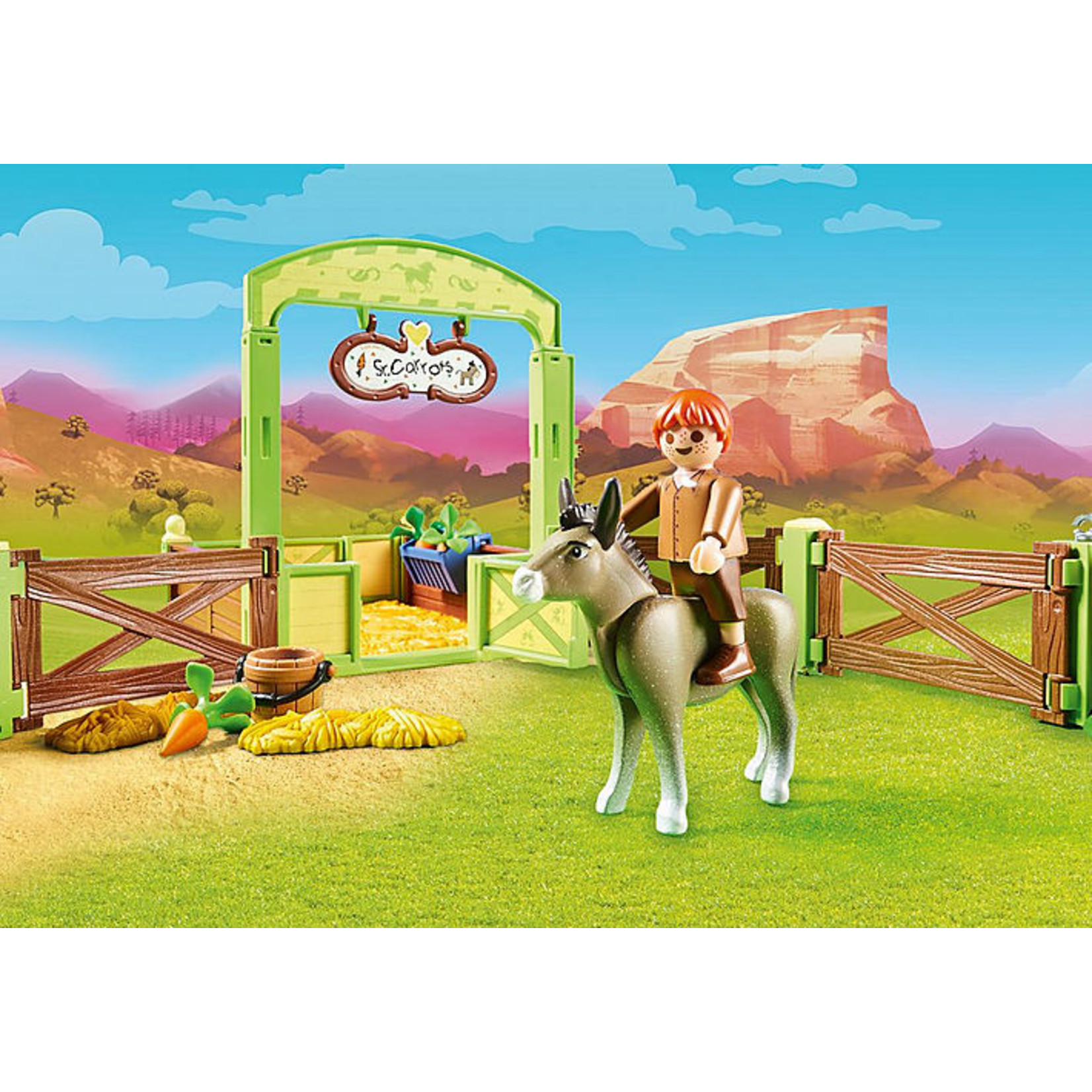 PLAYMOBIL SNIPS AND SENOR CARROTS WITH HORSE STALL