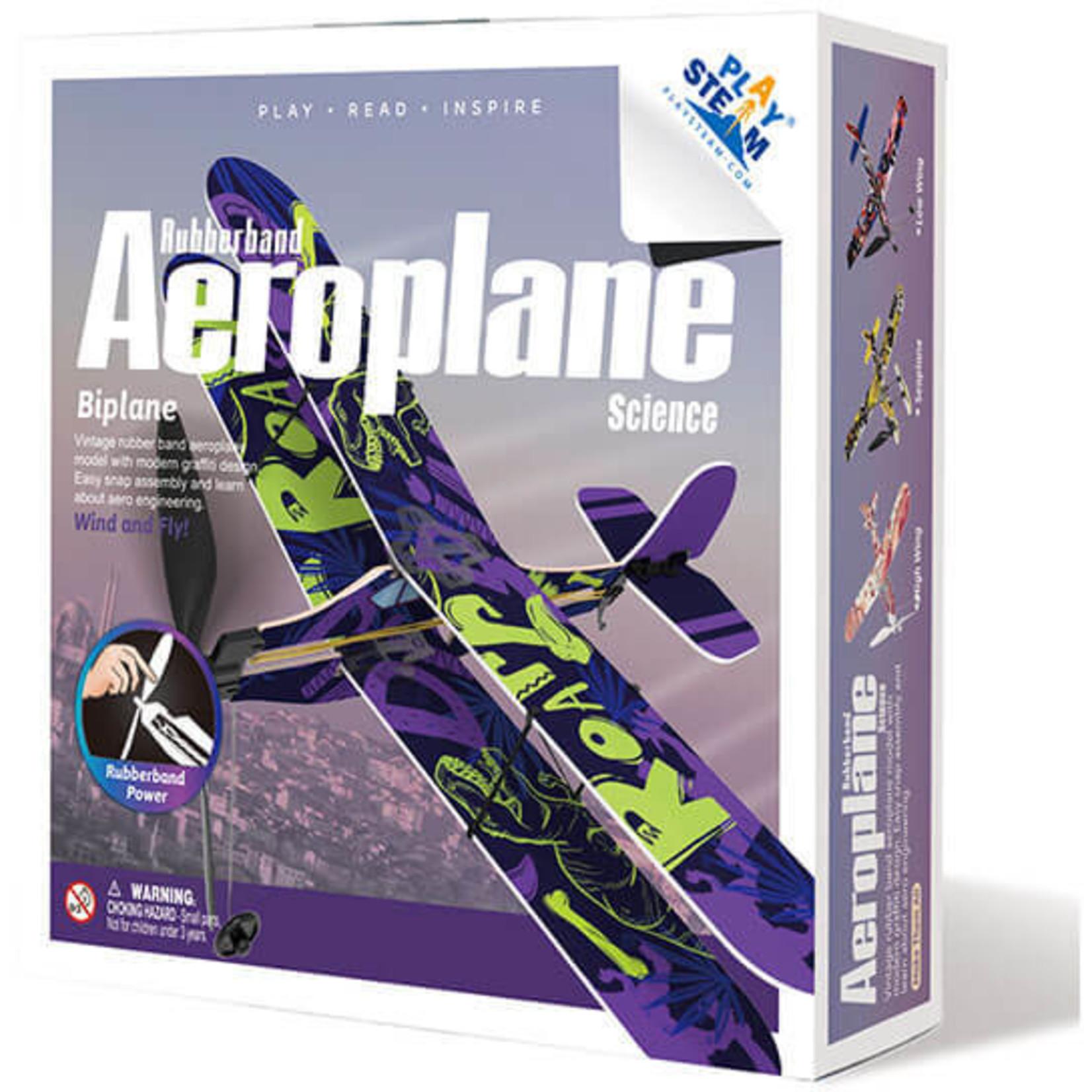 PLAY STEAM RUBBER BAND AEROPLANE BIPLANE