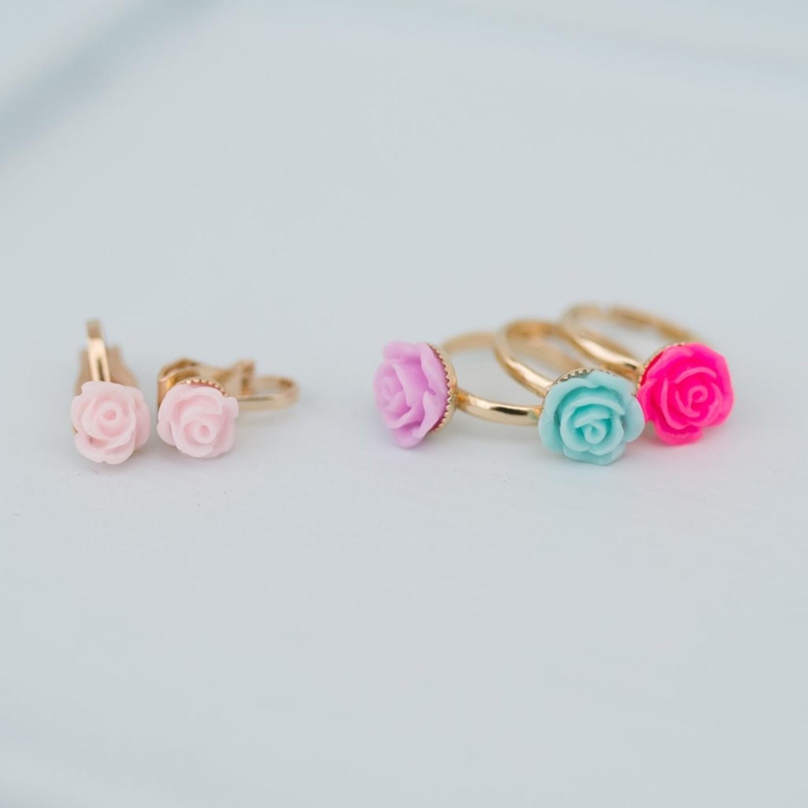 GREAT PRETENDERS BOUTIQUE ROSE RINGS & EARRINGS SET