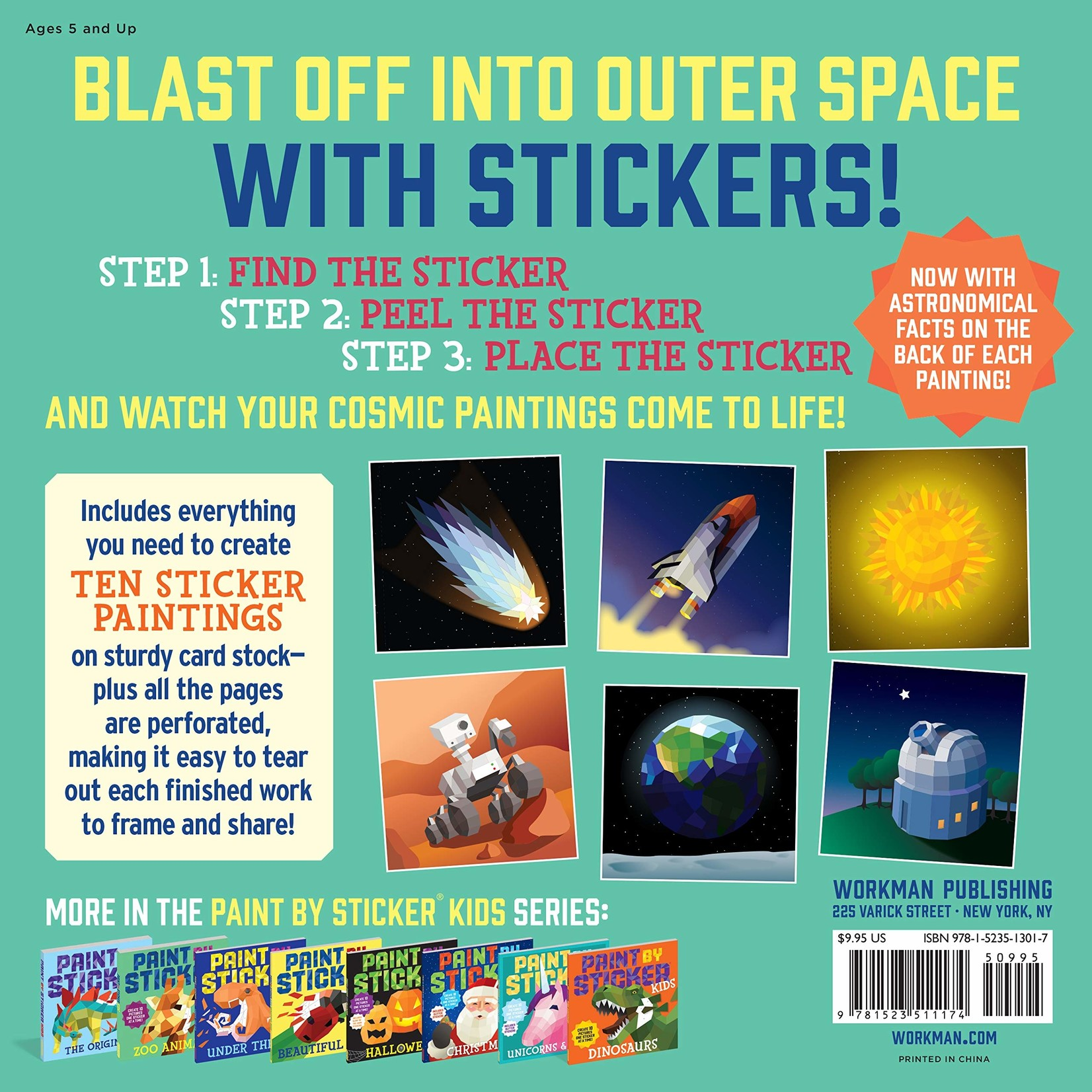 WORKMAN PUBLISHING PAINT BY STICKER OUTER SPACE
