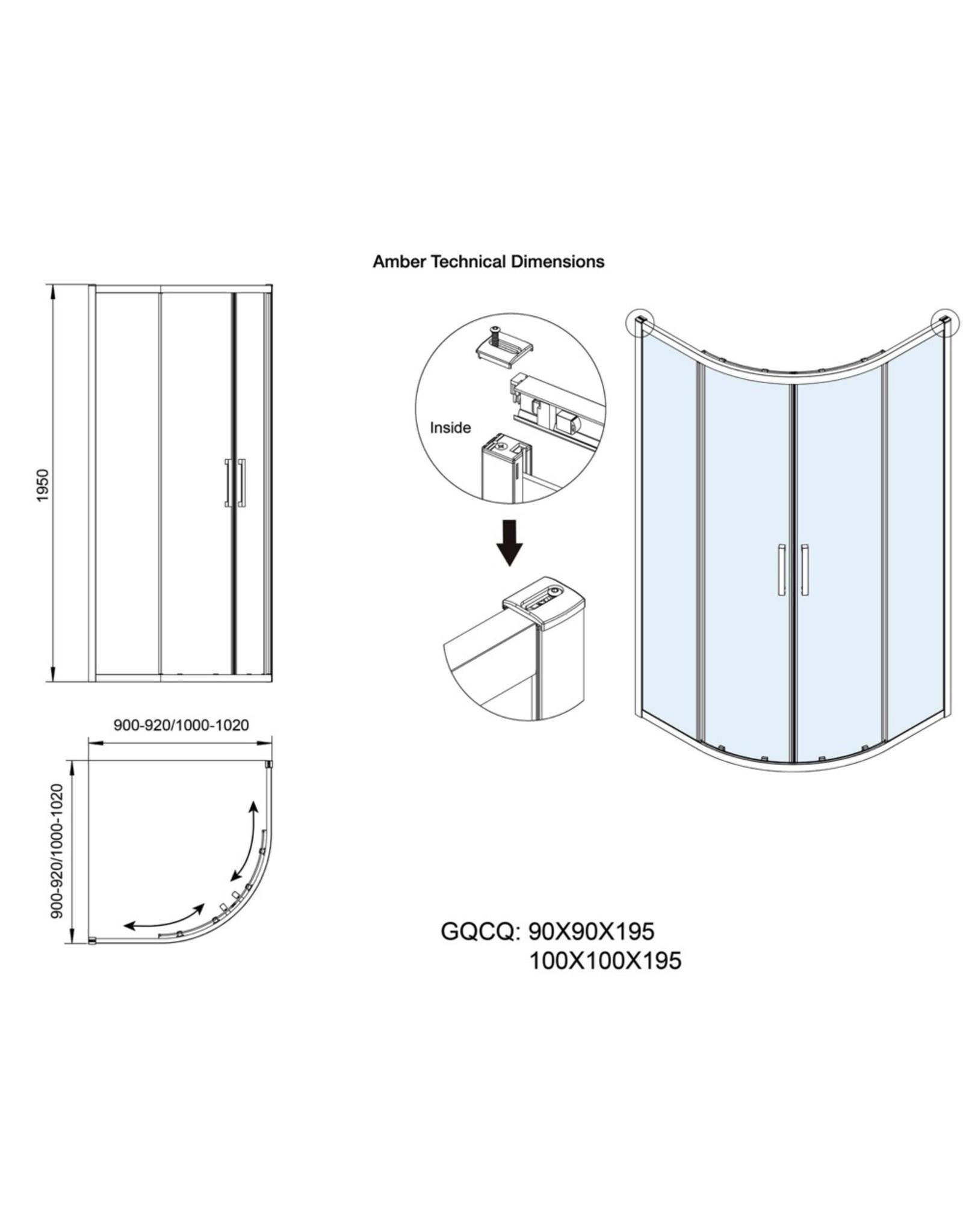 Impact 900x900x1950 Amber Round Corner Shower Screen