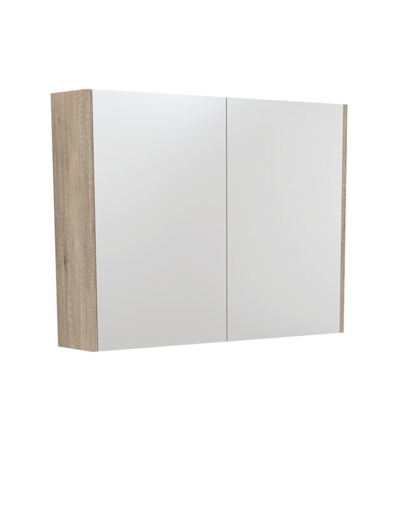 FIENZA 900mm, FIENZA, Scandi Oak Mirrored cabinet with side panels