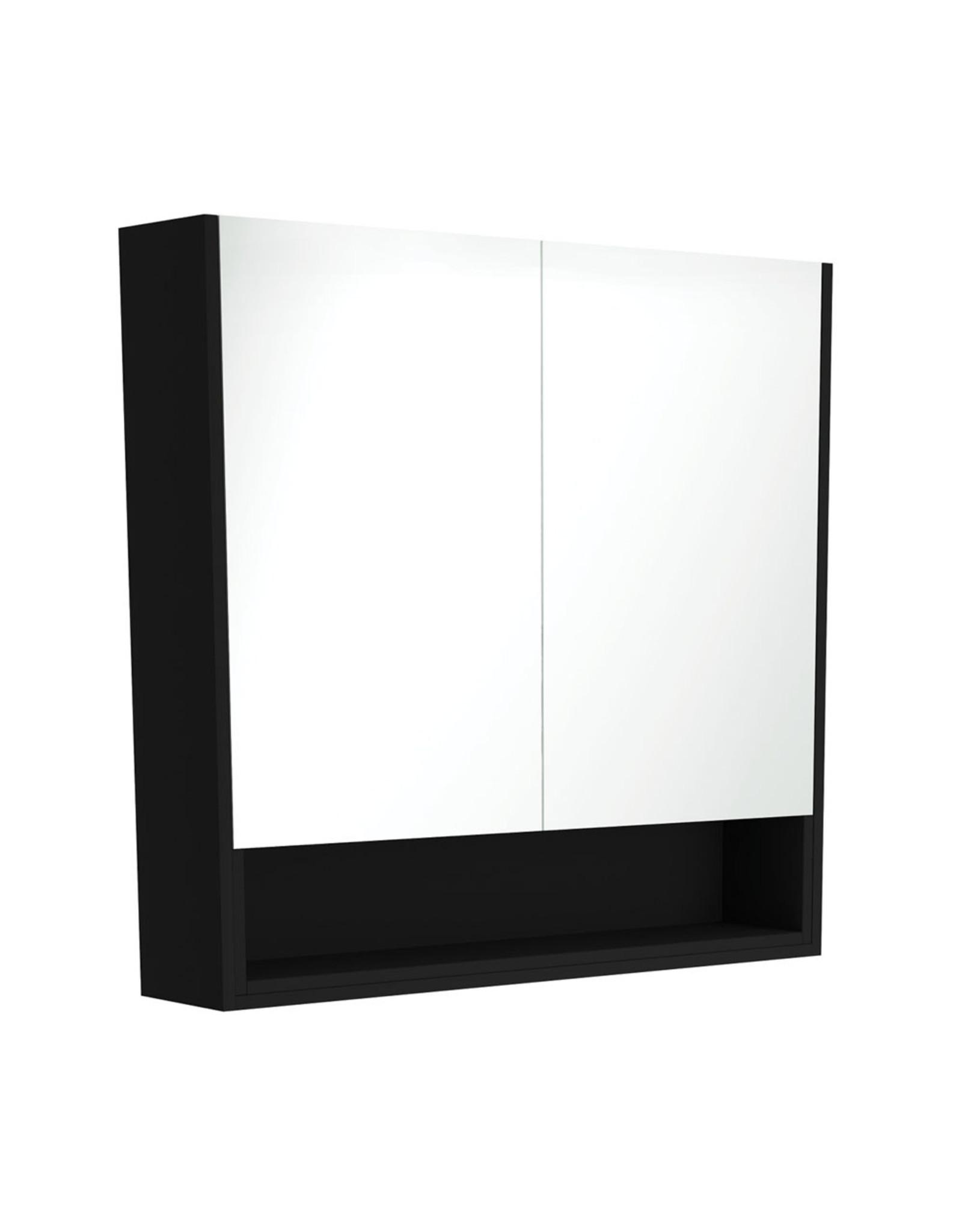 FIENZA  900mm, FIENZA, Matte Black Mirror Cabinet with Undershelf