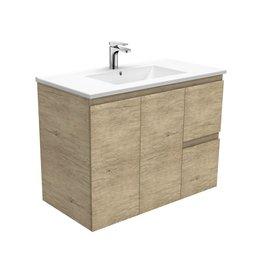FIENZA 900mm, FIENZA, Dolce ceramic top Scandi Oak Wall Hung Cabinet, Right hand drawers