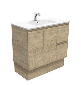 FIENZA 900mm, FIENZA, Dolce Scandi Oak cabinet on kickboard, Right Hand Drawers.