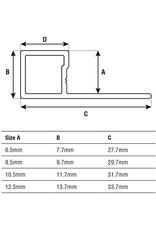 DTA 8mm DTA Aluminium Square Edge Trim Brushed Silver