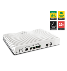 Draytek Draytek Vigor2862 - Multi WAN Firewall QoS IPv6 Router with VDSL2/ADSL2+, Gigabit, and 3G/4G USB WAN port for Load Balancing and Fail-over, 4 x Giga LANs, CSM, 32 x VPNs, 16 x SSL VPNs, and support Smart Monitor (30 nodes) & VigorACS SI