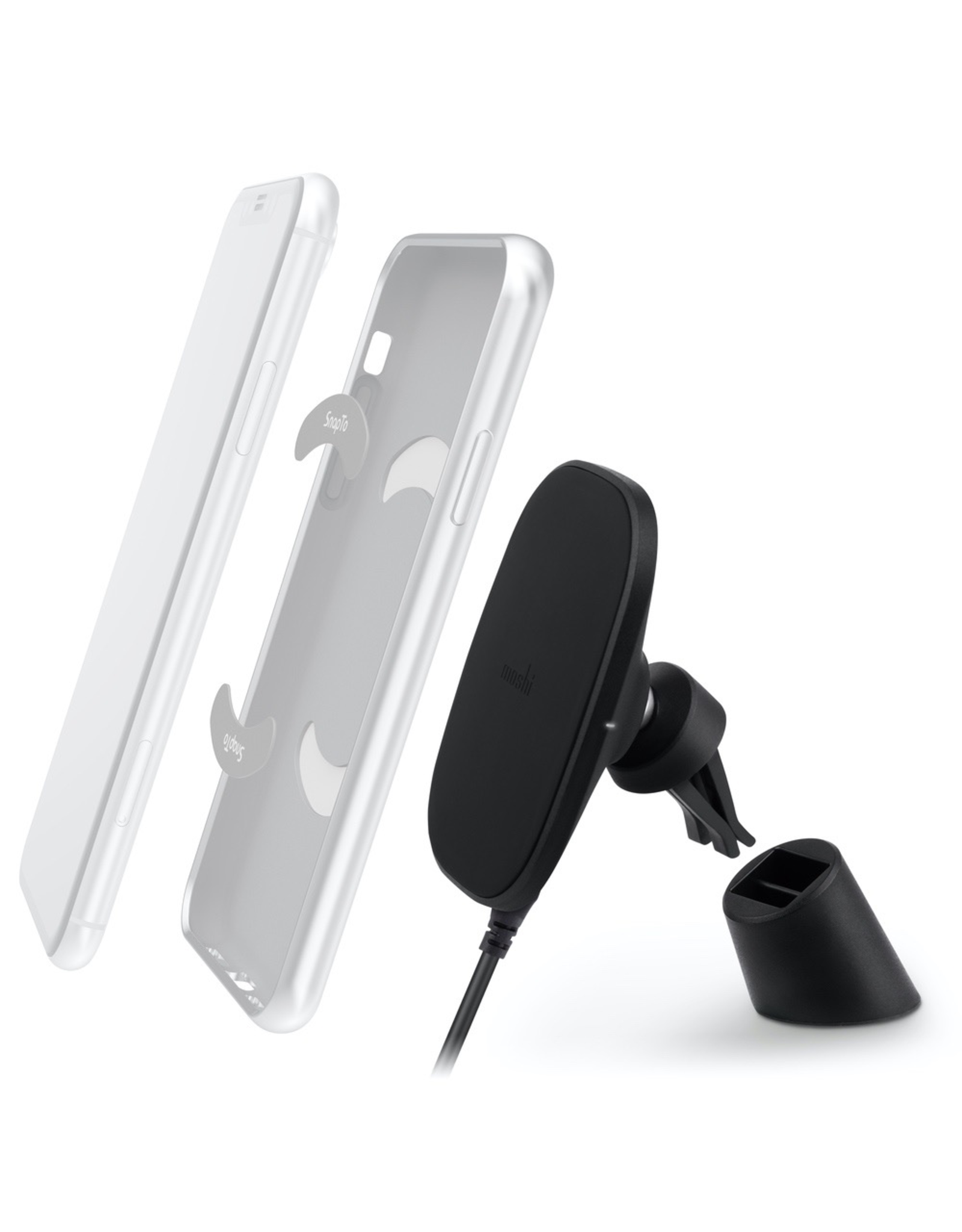 Moshi Moshi SnapTo™ Magnetic Car Mount with Wireless Charging