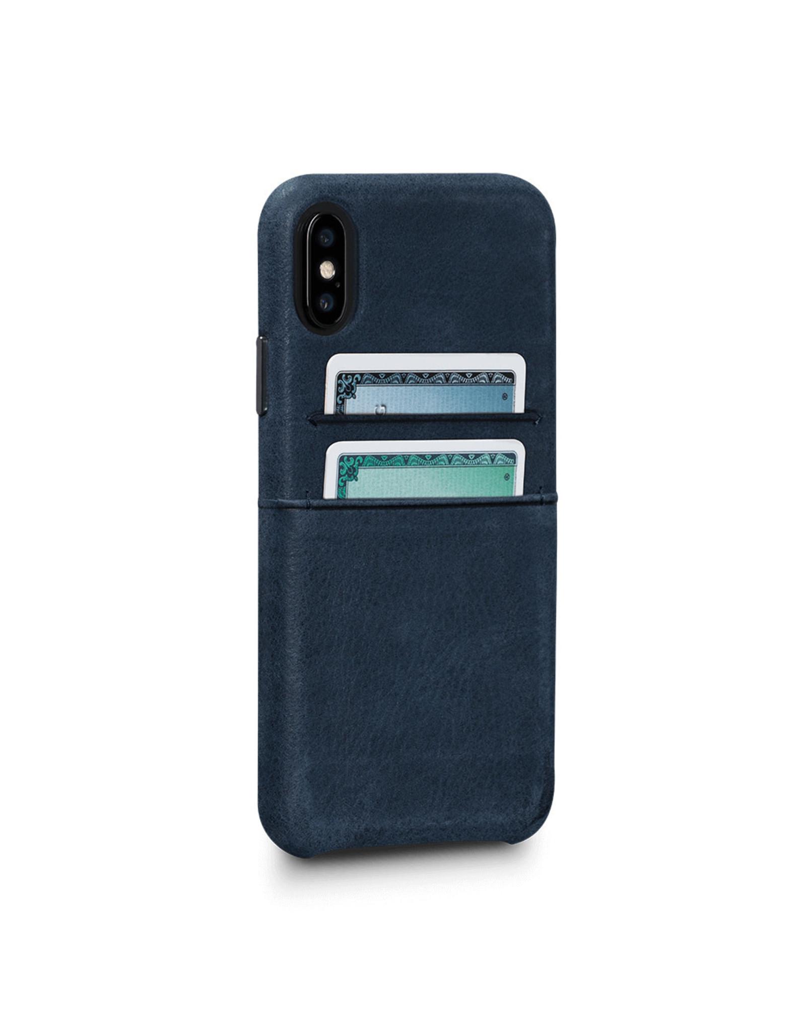 Sena Sena Bence Snap-on Leather Wallet case for iPhone X - Denim Blue EOL