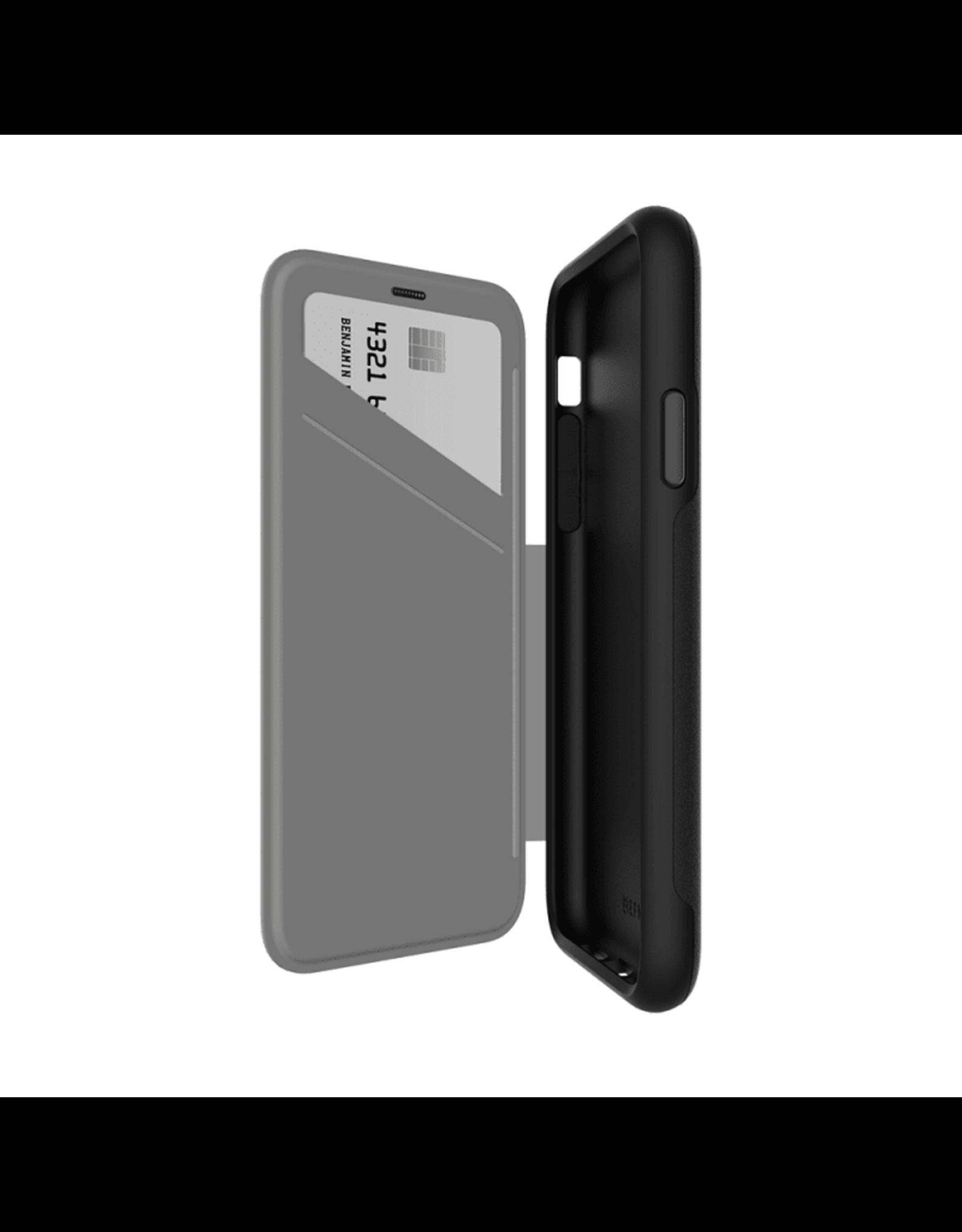 EFM EFM Monaco D3O Leather Wallet Case suits New iPhone Xs - Black/Space Grey EOL
