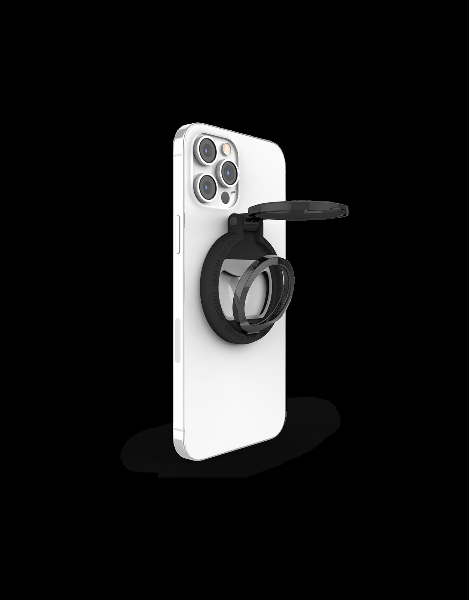 STM STM MAGLOOP Smarter MagSafe Accessory - BLACK - kickstand, silicone finger loop, bottle opener