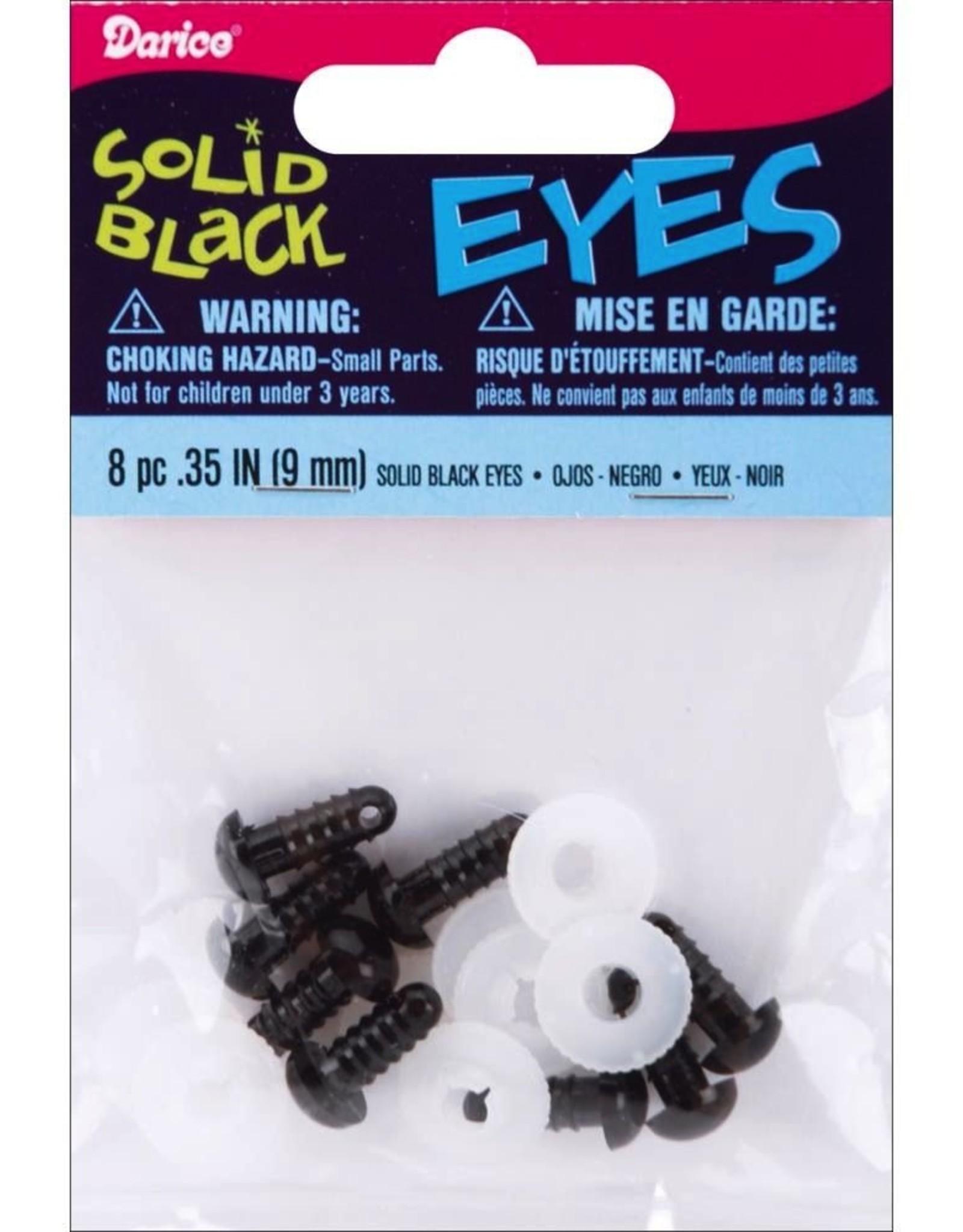 Darice Shank Black Solid Eyes 9mm 8/Pkg, Black