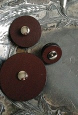 Jul Designs Jul Chocolate Brown Leather Pedestal Button 1.5""