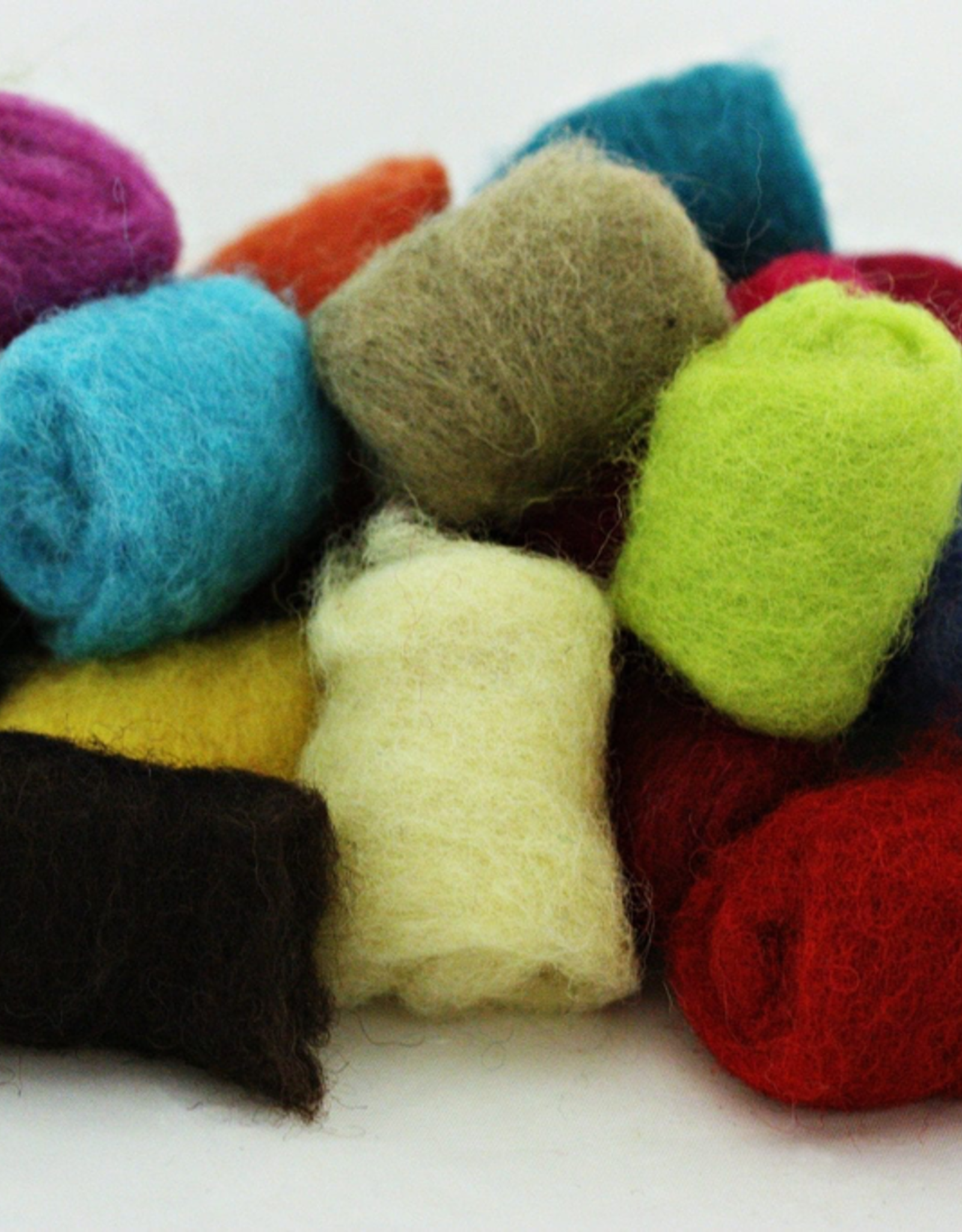 Gumballs needle felting wool by Frabjous Fibers assorted colors