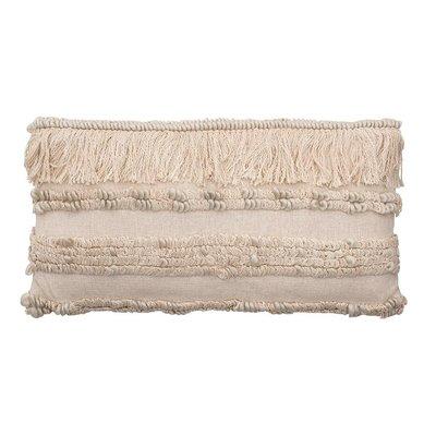 Woven Cotton & Wool Lumbar Pillow w Fringe