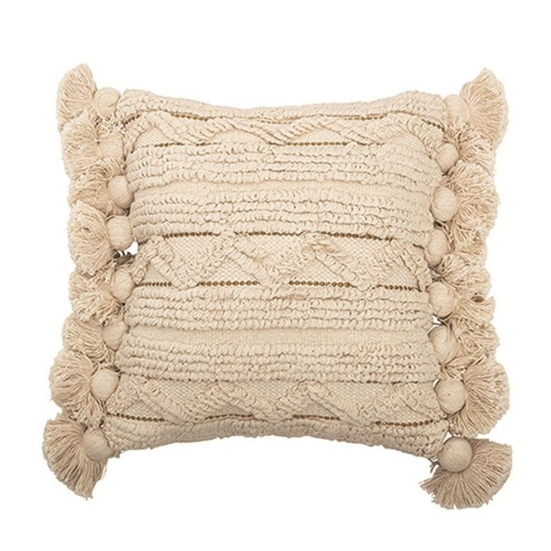Square Cotton Looped Pillow w/ Gold Metallic Threads & Tassels