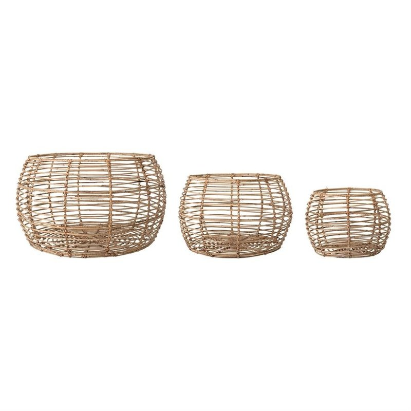 Open Weave Rattan Basket Set