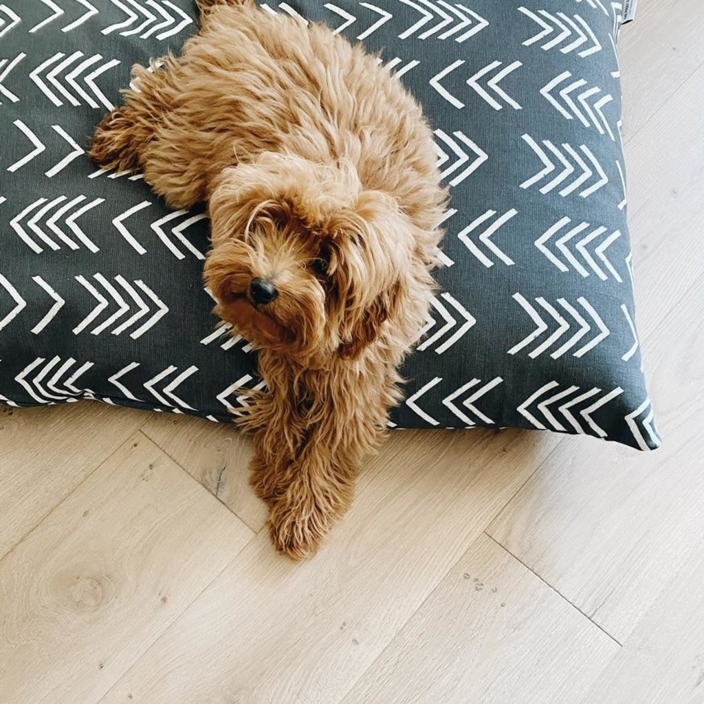 Modern Black Mud Cloth Dog Bed + Insert